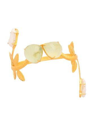 Golden Leafy Design Cuff Bracelet - Voylla