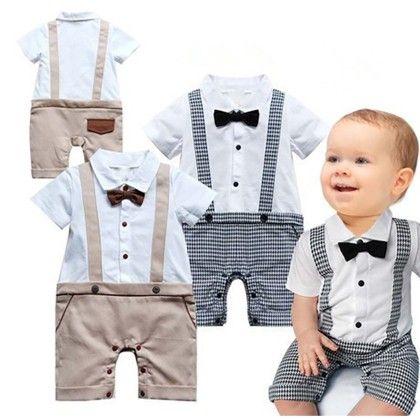 High Quality Boys Turn-down Neck Short Sleeve Bow Decor Splicing Color Plaid Jumpsuit - Black - Kidsloft