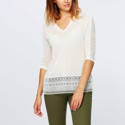 T-shirt With Lace Inset And Low Back White - Kiabi