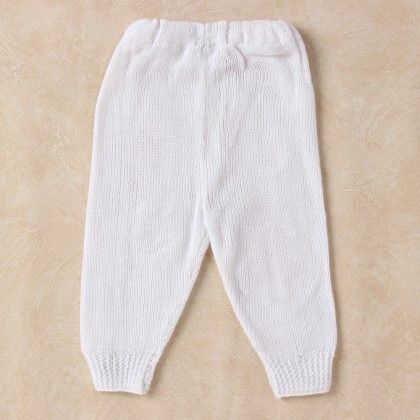 White Woollen Leggings - Knitting Nani
