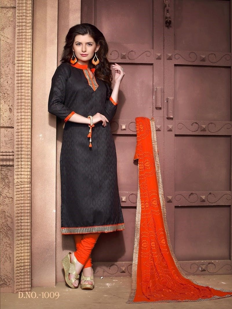 Black And Orange Cotton Dress Material - Fashion Fiesta