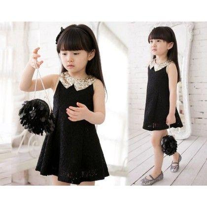 Lovely Sequins Collar Sleeveless Lace Dress - Kidsloft
