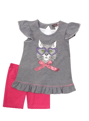 Flutter Sleeves Top And Shorts Butterfly Print Set-grey - Baby Ziggles