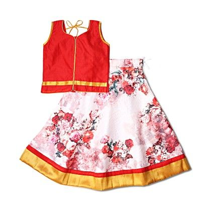 Red Choli In Chanderi Silk With Jute Silk Lehenga In Floral Print - UTSA