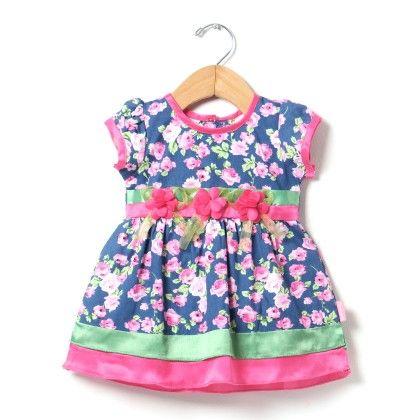 Floral Formal Dress With Tissue Flower-pink - Chocopie