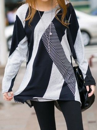 Blue Long Sleeve Striped Loose T-shirt - She In
