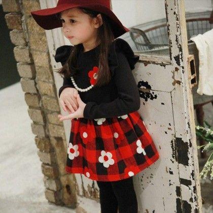 Red Plaid Winter Dress - Petite Kids