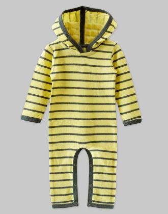 Fine Double Jersey Lime Stripe Hooded Jumpsuit - A.T.U.N