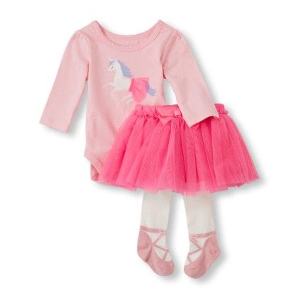 Baby Girl's Long Sleeve 'daddy's Lil' Girl' Bodysuit, Tutu & Tights Set - The Children's Place