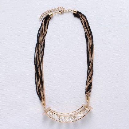 Golden And Black Colored Chain With Six Diamonds - Wilfred Jewellery