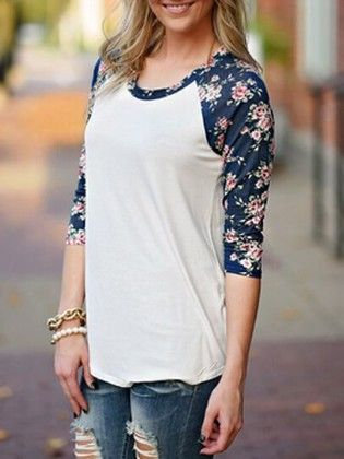Round Neck Flower Print T-shirt - She In