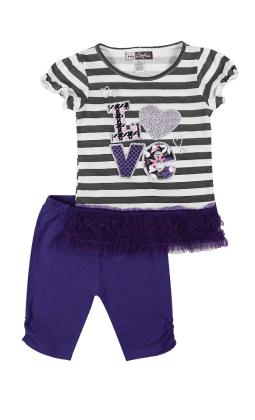 Top And Three Fourth Pant Set- Purple - Baby Ziggles