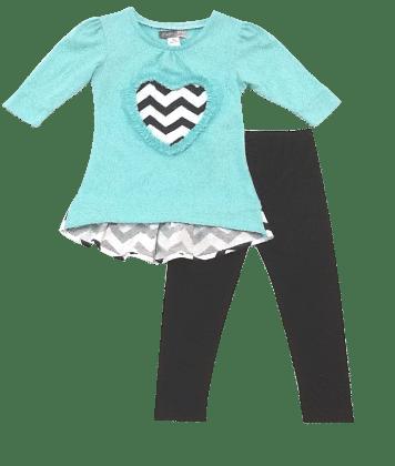 Chevron Heart Top And Legging Set -blue - Baby Ziggles