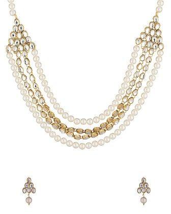 Kundan Necklace Set Adorned With Pearls - Voylla