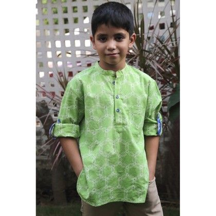 Boy's Short Kurta With Roll Up Sleeves And Tab Detail Lime - Indigene