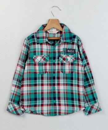 Teal Green Check Shirt Green -check - Beebay