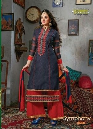 Blue And Red Plazzo Style Semi Stitched Suit - Fashion Fiesta