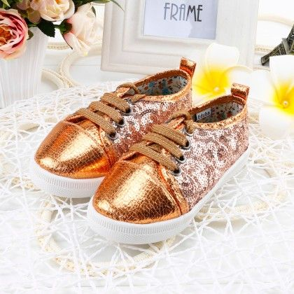 Shining Shimmer Shoes With Tie-up Laces - Golden - Twinkle Toes