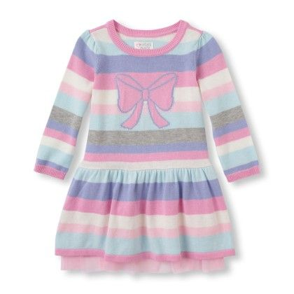 Long Sleeve Intarsia-knit Bow Striped Sweater Dress - The Children's Place