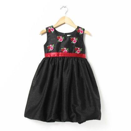 Irene Pretty Black Dupion Dress With Embroidered Flowers And Maroon Sash - ISM