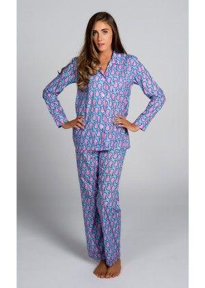 Persian Paisley Blue Pajama Set - Malabar Bay - 204235