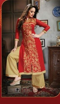 Red Plazzo Style Semi Stitched Suit - Fashion Fiesta