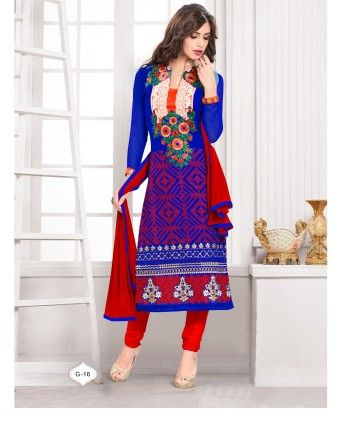 Blue  And Red Georgette Churidar Semi Stitched Suit - Fashion Fiesta