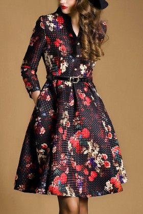 Black And Red Floral Dress - Drape In Vogue