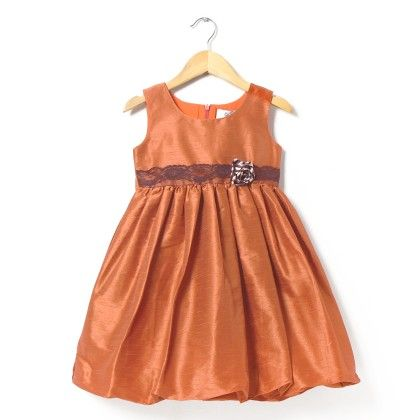 Orange Bubble Dress In Dupion With Polka Dotted Silk  Flower - ISM