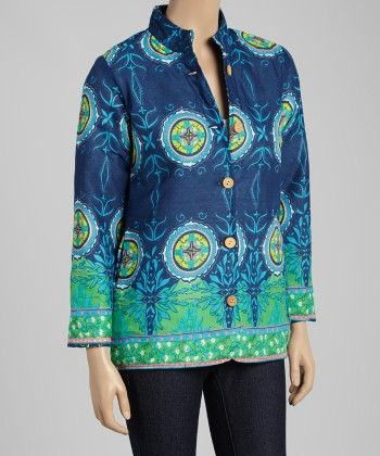 Navy & Green Paisley Button-up Jacket - Women - Yo Baby
