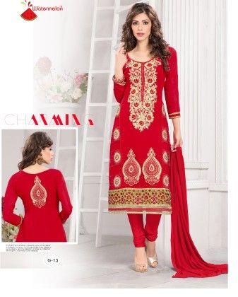 Red Georgette Churidar Semi Stitched Suit - Fashion Fiesta