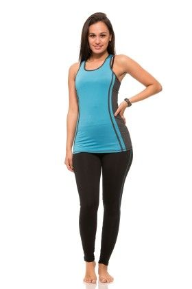 Womens Thick Layered Active Racerback Tank Top - Blue - S2 Sportswear