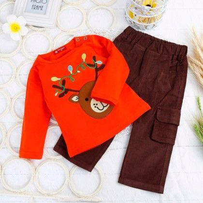 Boys Printed T-shirt And Pants - Two Pcs Set - Red - Richy Lad