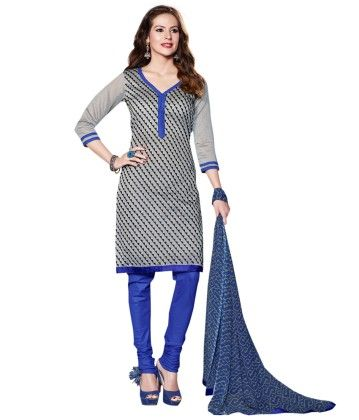 Touch Trends Grey Chanderi Dress Material - Touch Trends Ethnic