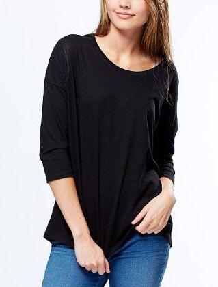 T-shirt With 3-4 Sleeves And Back Print Black Pari - Kiabi