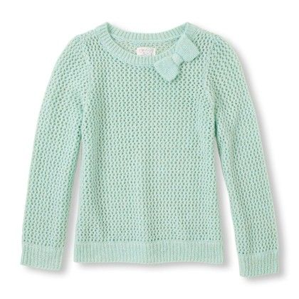 Girl's Long Sleeve Metallic Bow Crew Neck Knit Sweater - The Children's Place