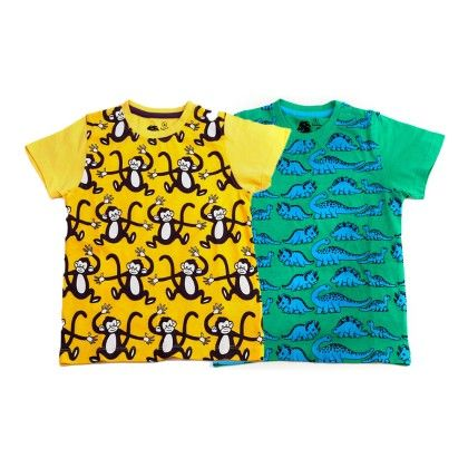 Yellow & Green Kids T Shirt Combo Pack Of 2 - Huntler - 215099