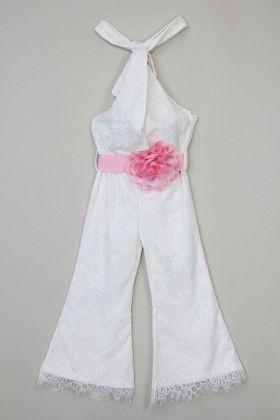 Ivory Flower Lace Halter Jumpsuit - Tutu And Lulu
