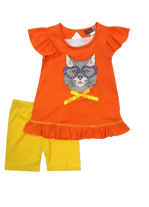 Flutter Sleeves Top And Shorts Butterfly Print Set-orange - Baby Ziggles
