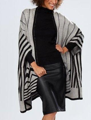 Poncho-style Cardigan -gray - Kiabi