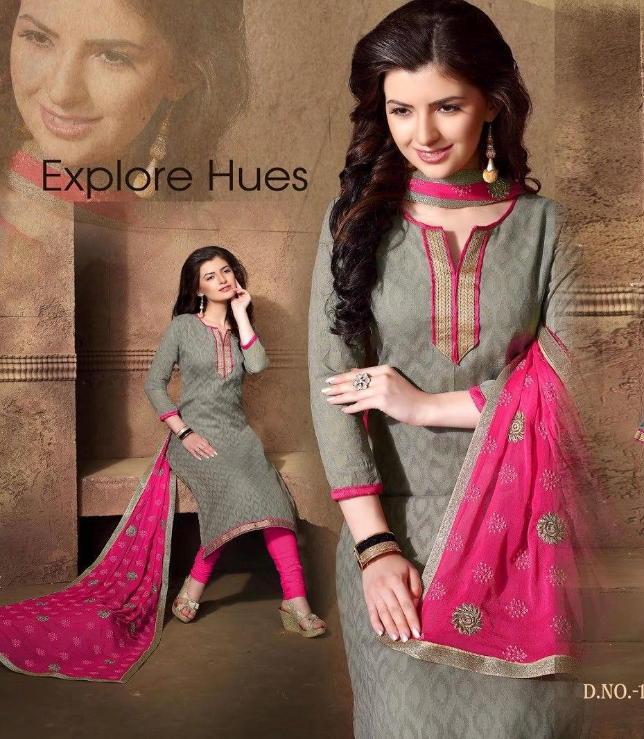 Grey And Pink Cotton Dress Material - Fashion Fiesta