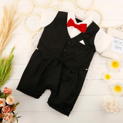 Cute Red Bow Waist Coat Romper One Pc - Black - Richy Lad