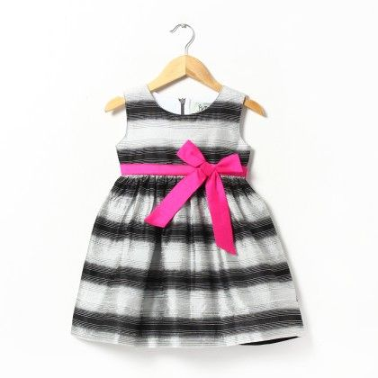 Santa's Sammy Black And White Stripe Dress - ISM