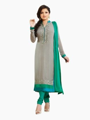 Touch Trends Grey Georgette Dress Material - Touch Trends Ethnic