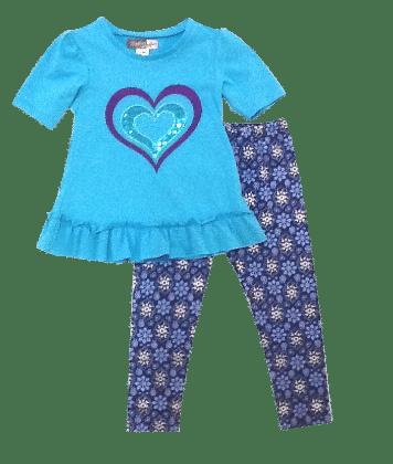 Glitter Heart And Printed Legging Set - Blue - Baby Ziggles