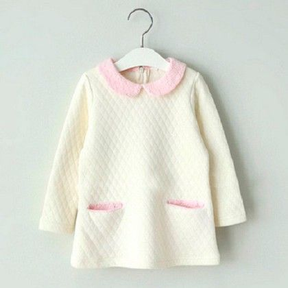 Thick Cotton Padded Winter Singlet With Lace Collars - Pinni Kidz