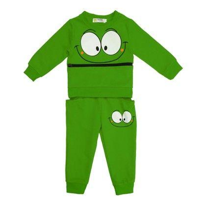 Boys Big Eyes Printed Zipper Front Long Sleeve Hoodie Tops And Pants Two Pieces Set - Green - Kidsloft