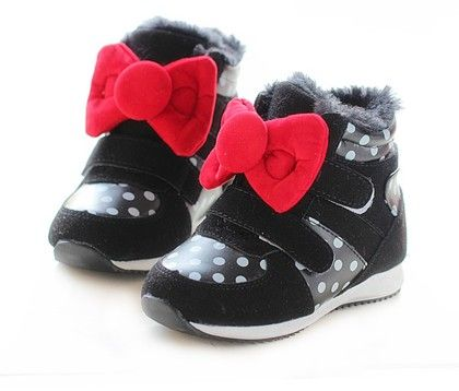 Black Polka Dot Shoes With Red Bow - Dancing Toes