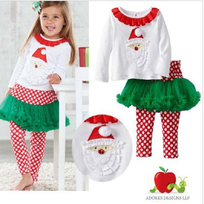 2pcs Set Santa Claus Shirts + Skirt Leggings Suit - Adores