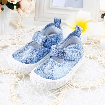 Girls Party Wear Blue Shimmery Shoes With Velcro Closure - Twinkle Toes